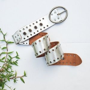Fossil Size M Leather Silver Studded Belt